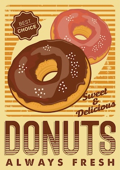 Donut donuts donut donuts signalisation affiche rustique