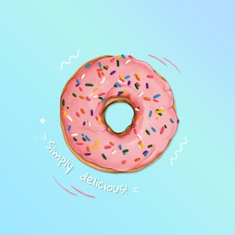 Donut glacé dessiné à la main