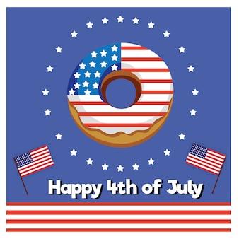 Donut heureux le 4 juillet, fête de l'indépendance des états-unis. vacances patriotiques américaines.