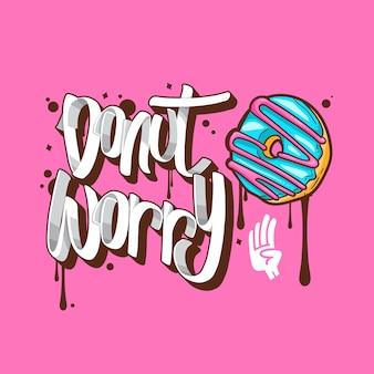 Donut inquiet donuts t-shirt citations illustration vectorielle