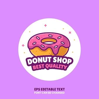 Donut king logo vector icon illustration dans flat stylepremium isolé donut logo pour coffee shop