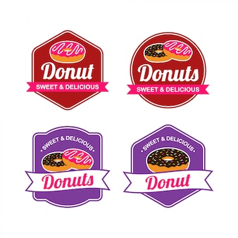 Donut logo vector avec la conception de badge