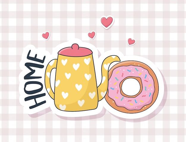 Donut mignon et bouilloire aiment des trucs pour cartes autocollants ou patchs décoration dessin animé