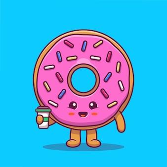 Donut mignon tenant illustration d'icône de dessin animé de café. concept d'icône de caractère alimentaire isolé premium. style de bande dessinée plat