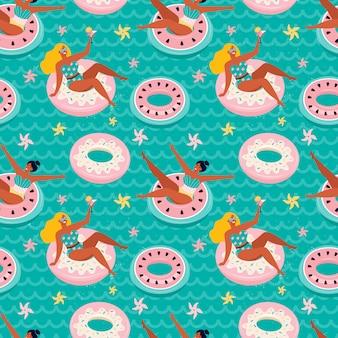 Donut rose doux et flotteurs de piscine gonflable pastèque. des femmes drôles dessinées à la main nagent dans la mer sur un cercle en caoutchouc gonflable. fond d'été de mer en vecteur. heure d'été