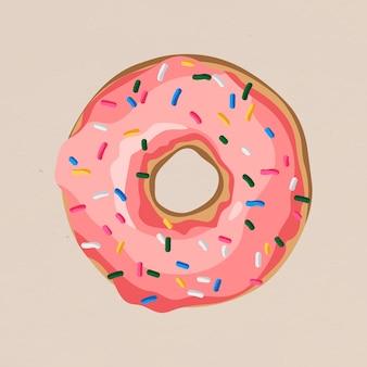 Donut rose glacé avec élément de conception de pépites