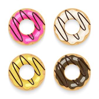 Donut top view set isolé sur blanc