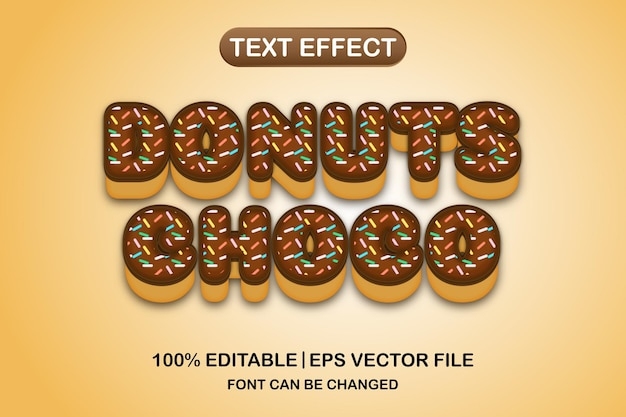 Donuts chocho effet de texte modifiable en 3d
