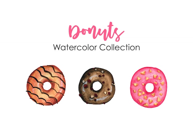Donuts collection aquarelle