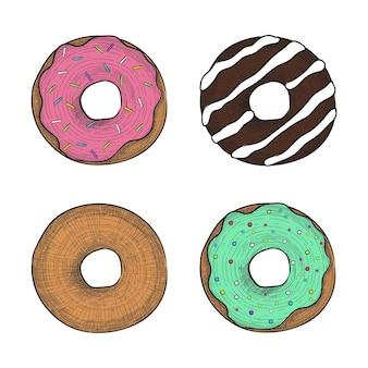 Donuts dans un style de gravure coloré illustration vectorielle dessinés à la main dans un style vintage