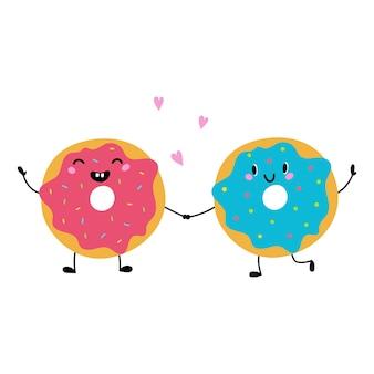 Donuts drôles mignons vector illustration dans un style plat isolé sur fond blanc
