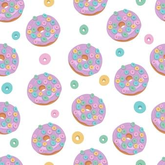 Donuts modèle sans couture avec des flocons multicolores. illustration de dessin animé dessiné à la main de vecteur.