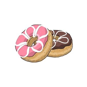 Donuts n style vintage dessiné à la main. prêt à l'emploi pour tous les besoins.