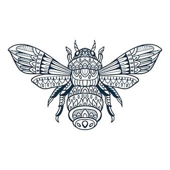 Doodle abeille dessiné à la main