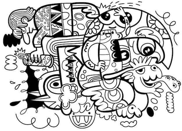 Doodle abstrait fou social