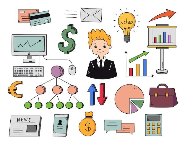 Doodle d'affaires et de gestion dessinés à la main