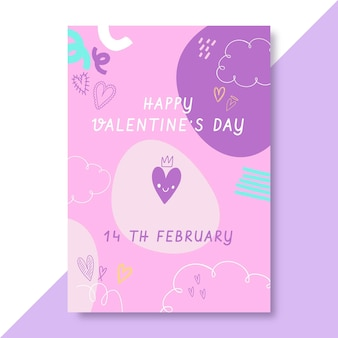 Doodle affiche de la saint-valentin enfantine