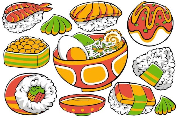 Doodle alimentaire japonais dans un style de conception dessiné à la main