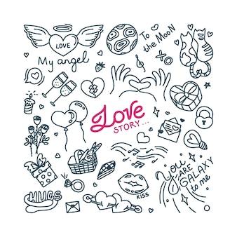 Doodle sur l'amour et la relation amoureuse imprimer avec des coeurs et d'autres symboles d'amour