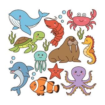 Doodle animaux marins