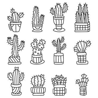 Doodle arbre cactus kawaii