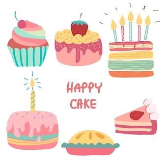 Doodle arc-en-ciel dessiné à la main mignon gâteau d'anniversaire