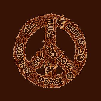 Doodle art paix design logo gentillesse, joie, amour, foi, espoir contre un ornement orange