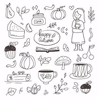 Doodle automne automne éléments dessin à la main. dessin au trait de dessin animé collection automne. symbole d'icône de décoration saisonnière automne abstrait moderne de citrouille, bougie, champignon, fille