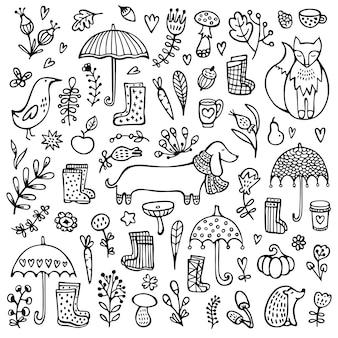 Doodle automne noir et blanc