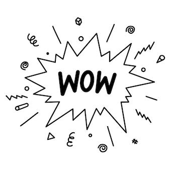 Doodle bande dessinée explosion comique. bulles dessinées à la main avec texte wow isolés sur fond blanc pour le web, les affiches, les bannières et la conception. illustration vectorielle.