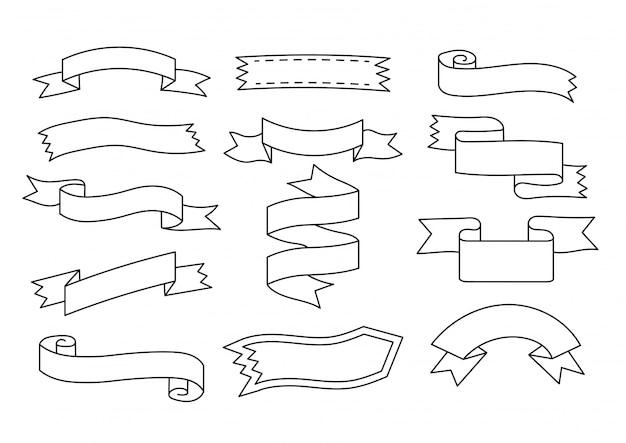 Doodle de bannière d'étiquette ruban