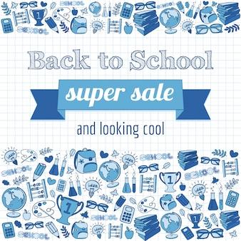 Doodle à la bannière de vente super école