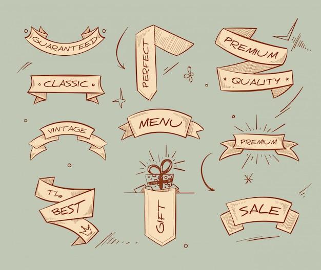 Doodle bannières de ruban rétro