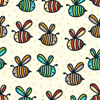 Doodle bee pattern background