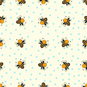 Doodle bee pattern
