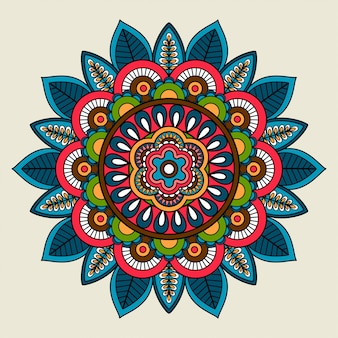 Doodle boho mandala floral de couleur