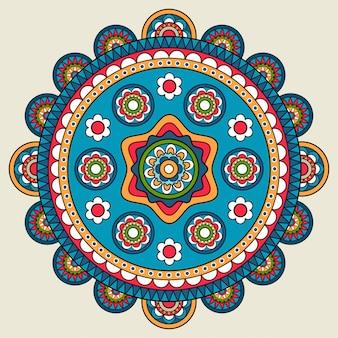 Doodle boho motif floral rond