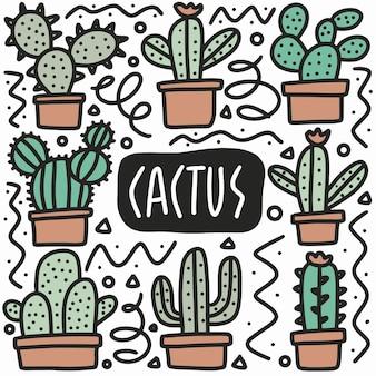 Doodle de cactus dessiné main sertie d'icônes et d'éléments de conception