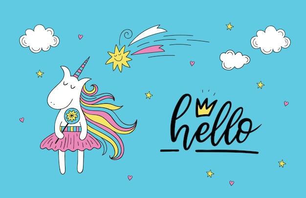 Doodle carte de voeux de licorne avec lettrage bonjour