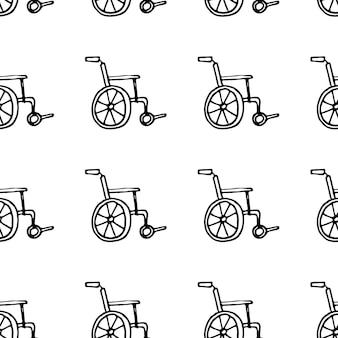 Doodle de chariot handicapé dessiné main modèle sans couture. icône de style de croquis. élément de décoration. isolé sur fond blanc. conception plate. illustration vectorielle.