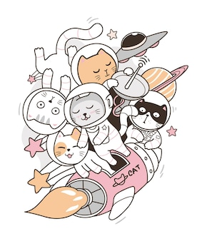 Doodle de chat astronaute