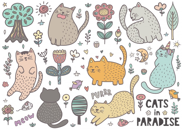 Doodle chats dessinés à la main mignonne. collection de chatons drôles