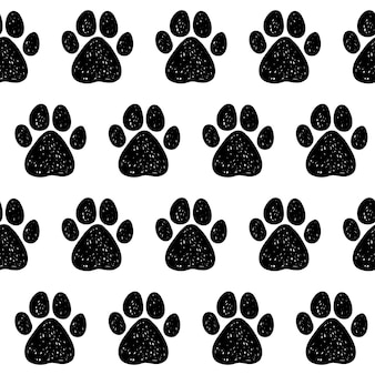 Doodle chien patte de fond transparente. échantillon abstrait de piste de patte de chien pour carte, invitation, affiche de clinique vétérinaire, textile, impression de sac, publicité d'atelier moderne, etc.