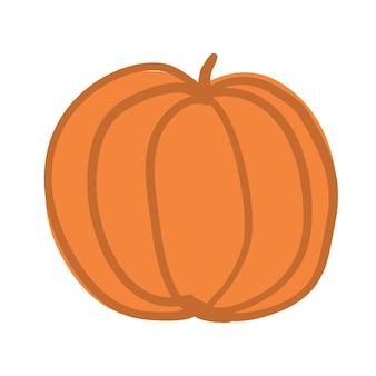 Doodle citrouille orange dessinée à la main sur illustration vectorielle fond blanc