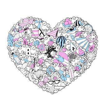 Doodle de coeur. un ensemble d'éliminations estivales.