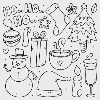 Doodle collection ensemble d'éléments de noël sur blanc isolé
