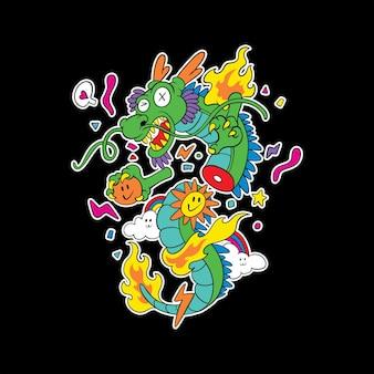 Doodle coloré-le dragon volant
