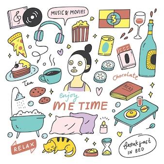 Doodle de concept de temps moi