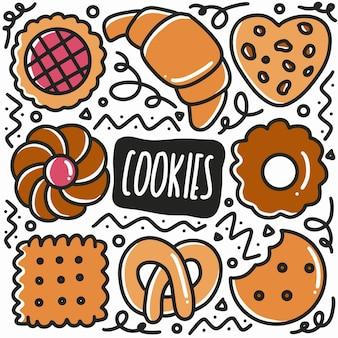 Doodle de cookies dessinés à la main sertie d'icônes et d'éléments de conception