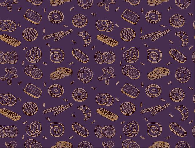 Doodle cookies et modèle sans couture de biscuit